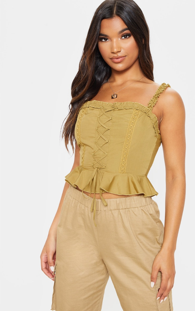 Olive Crochet Lace Up Cami Top 1