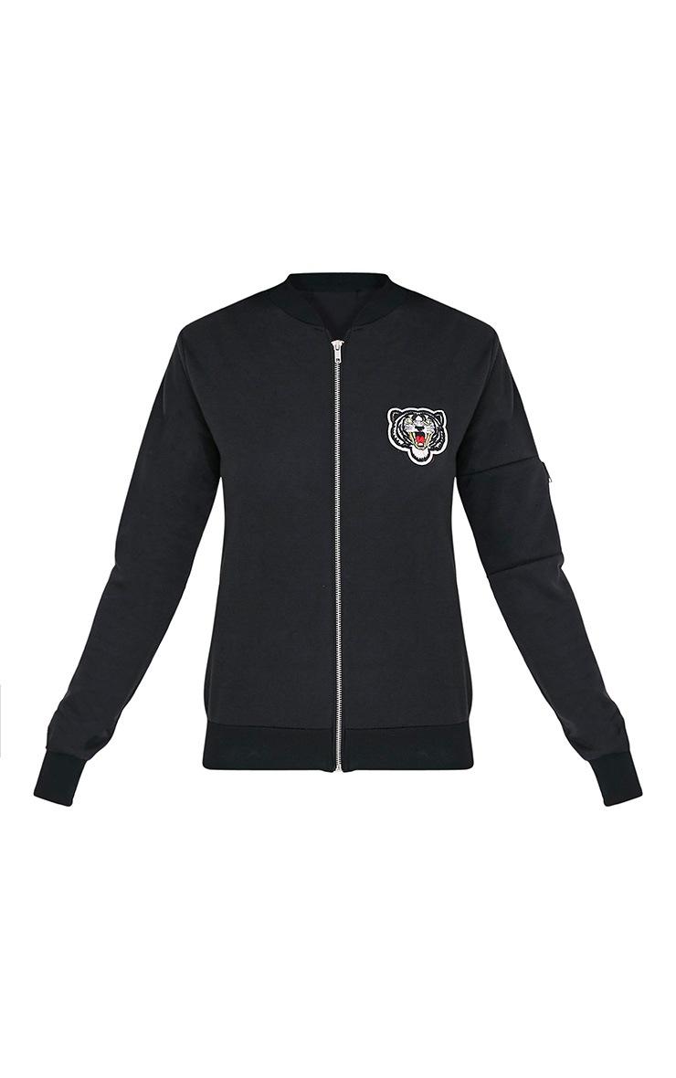 Joella Black Jersey Badge Detail Bomber Jacket 3