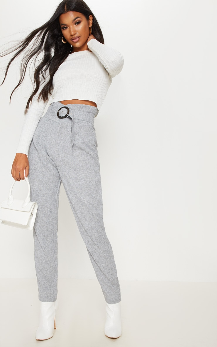 Grey Belted Tweed Cigarette Trouser
