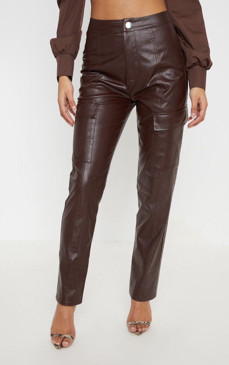 Chocolate Faux Leather Cargo Pocket Straight Leg Trouser  2