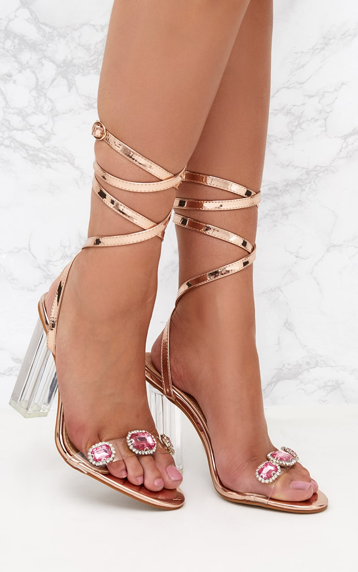 Rose Gold Jewelled Lace Up Heels 1