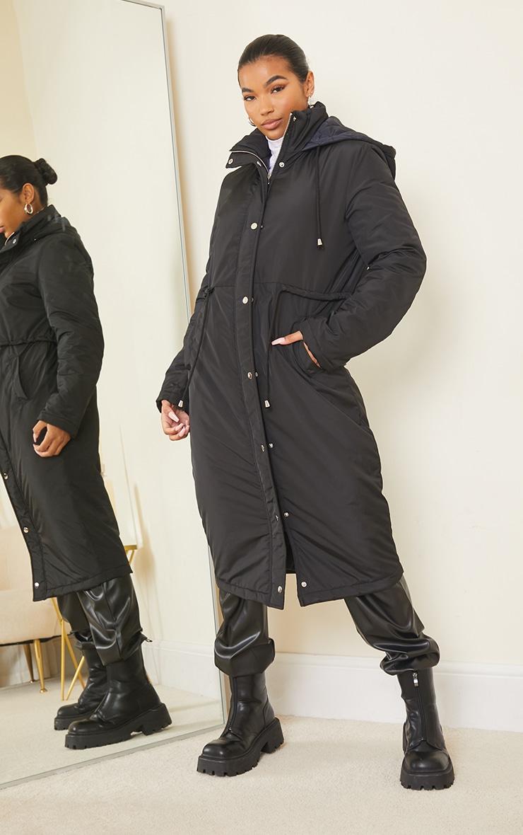 Black Nylon Toggle Waist Maxi Hooded Parka Jacket 3