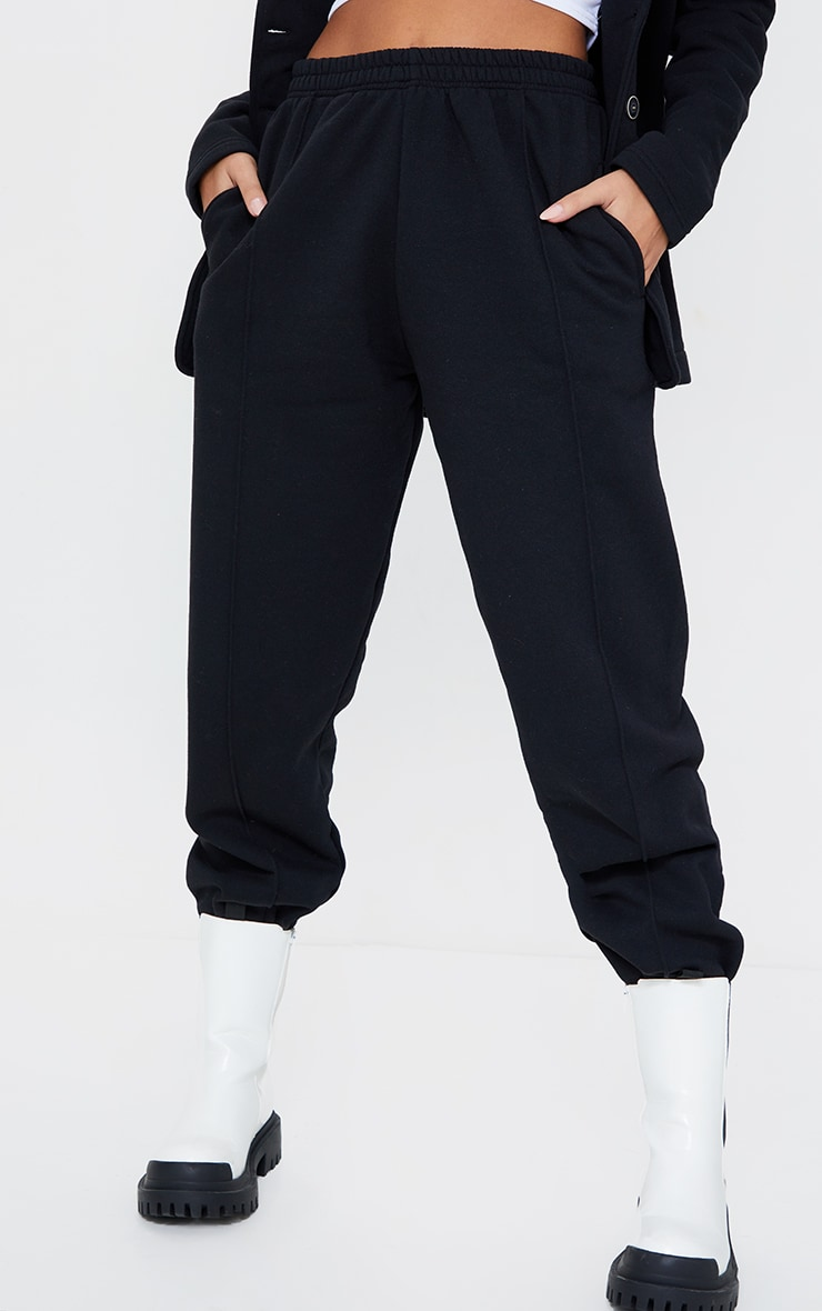 Black Seam Front Cuffed Joggers 2