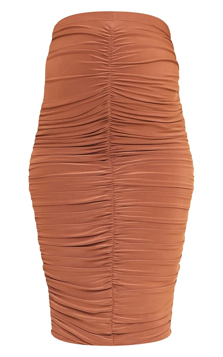 Maternity Chocolate Ruched Midi Slinky Skirt 5