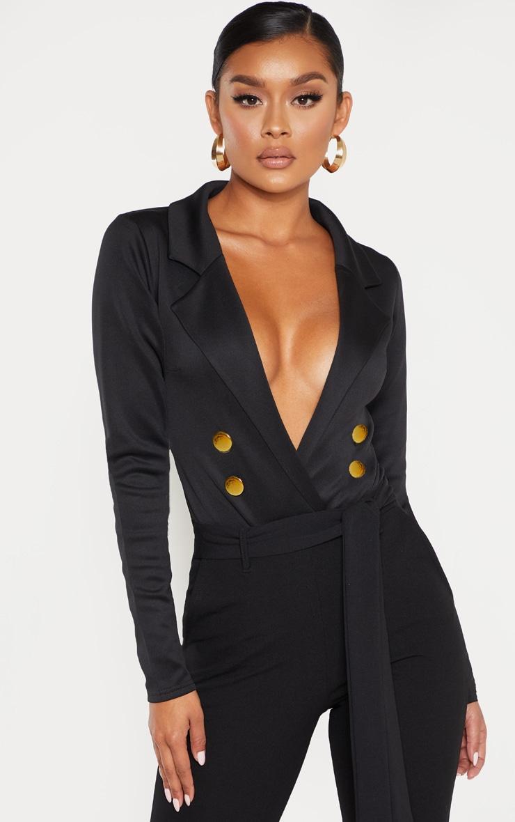 Black Gold Button Blazer Bodysuit 1