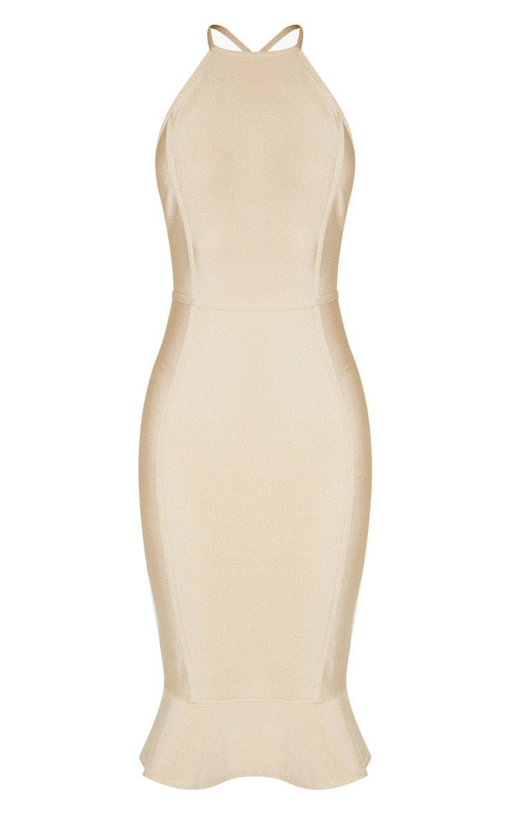 Champagne Bandage Cross Strap Open Back Frill Hem Midi Dress 3