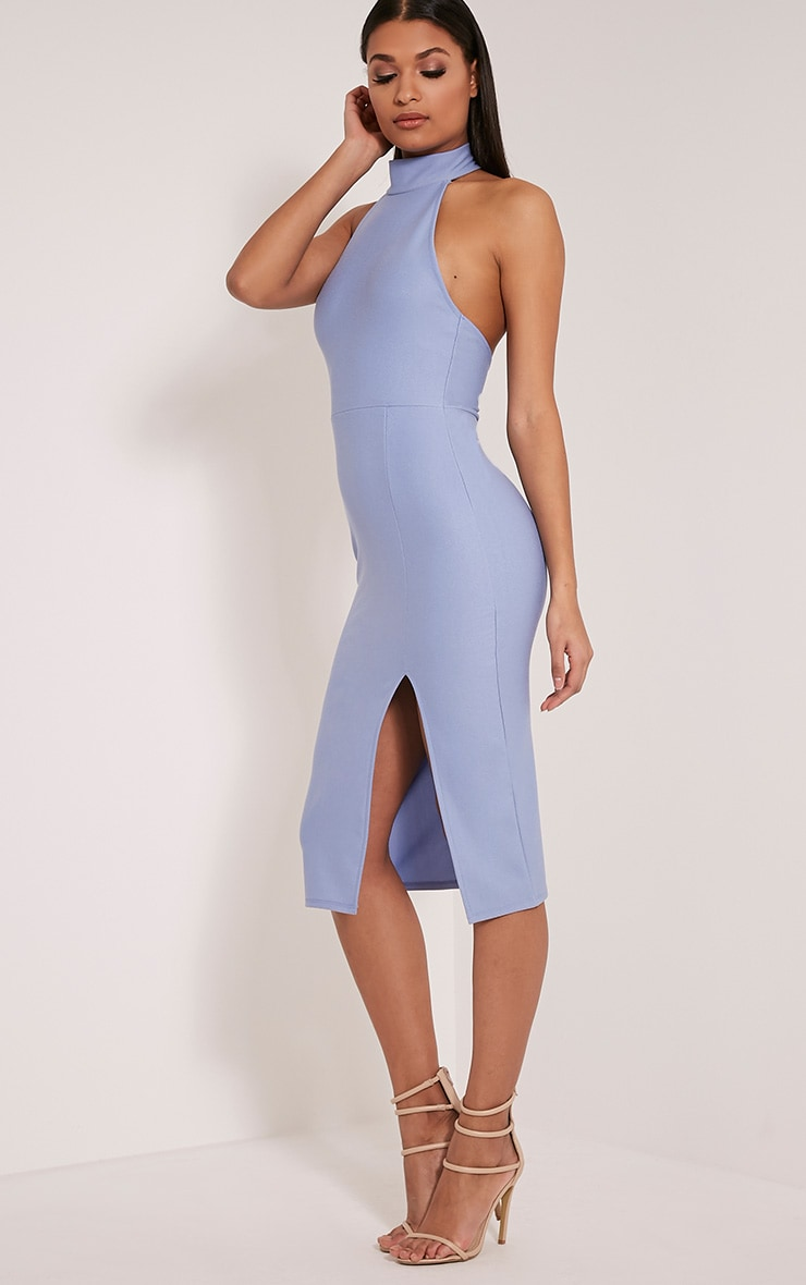 Trina Dusty Blue High Neck Split Front Midi Dress 4