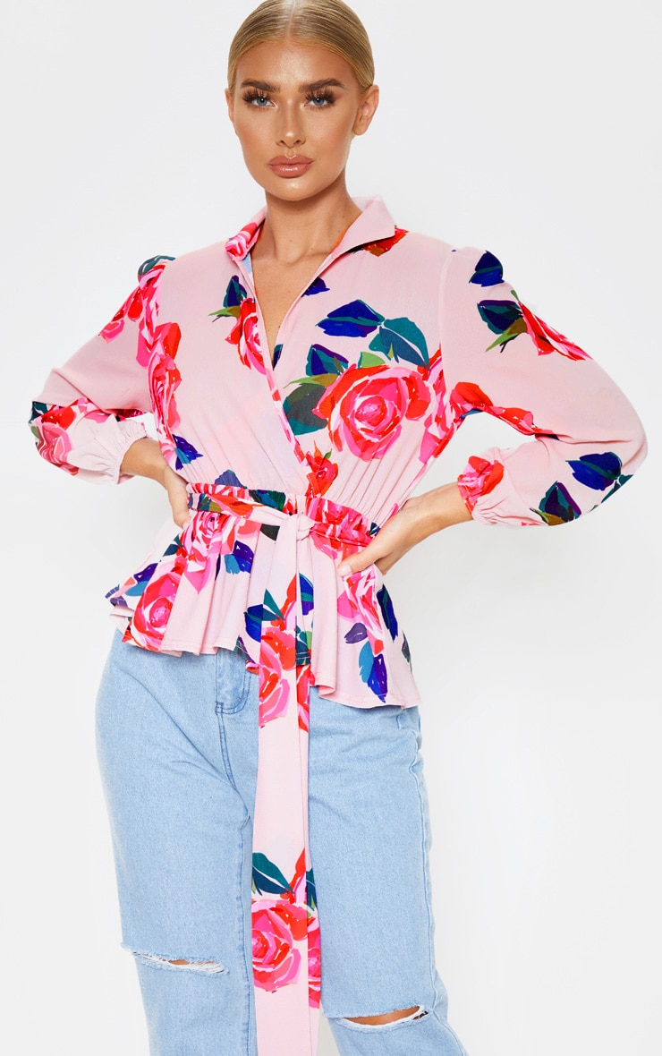 Pink Floral Printed Plunge Tie High Neck Blouse 1