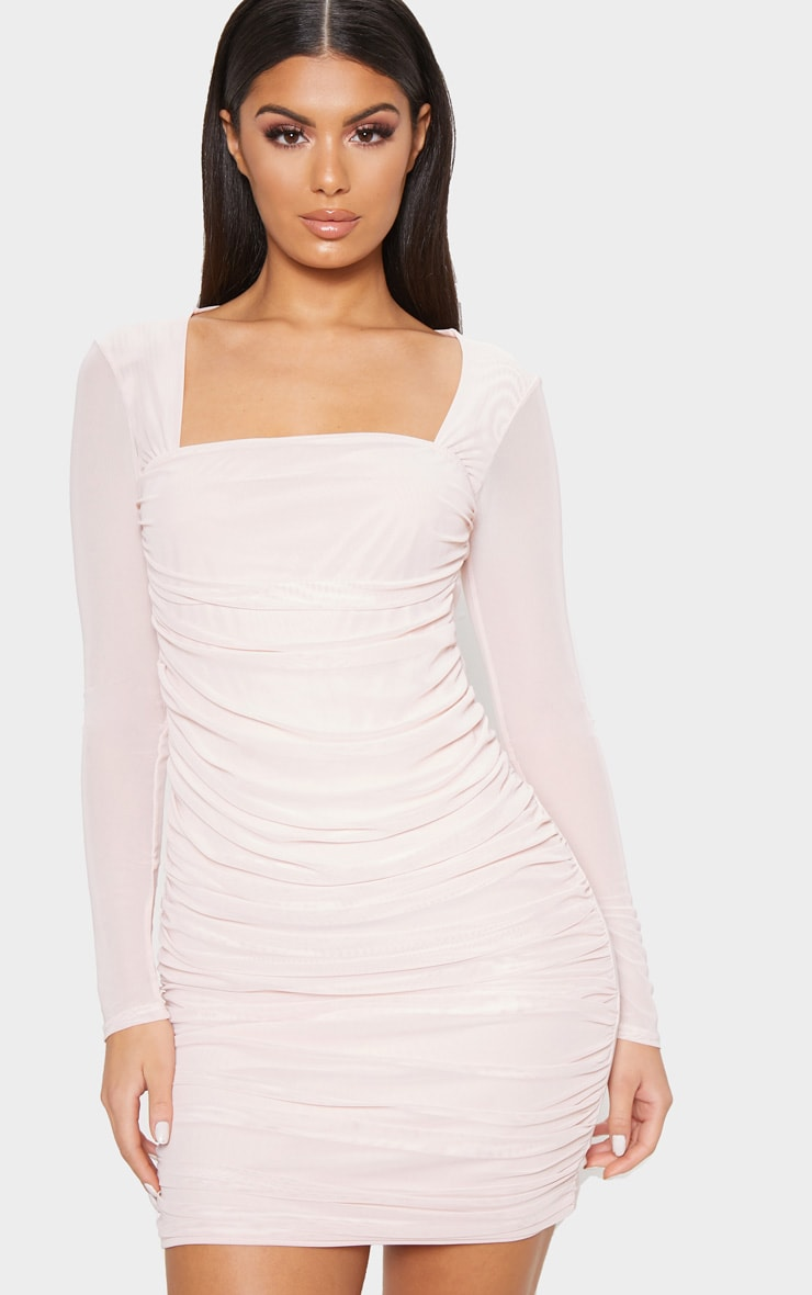 Nude Mesh Long Sleeve Ruched Bodycon Dress 4