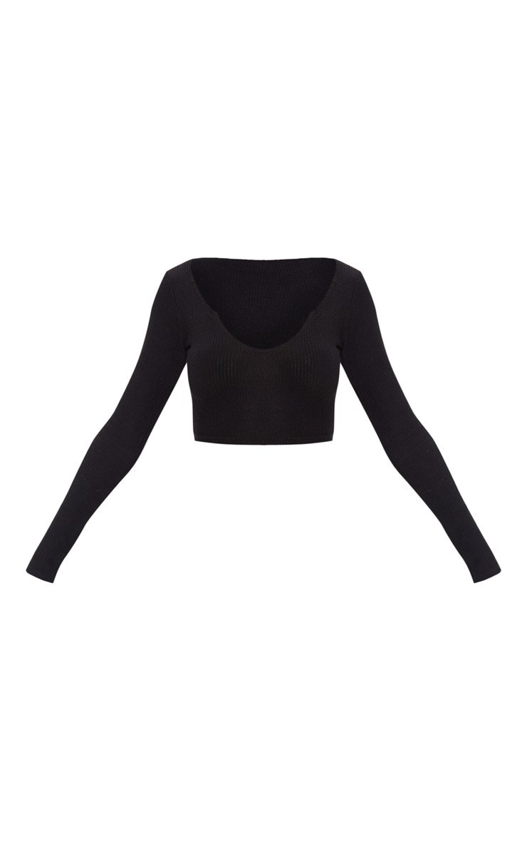 Black Brushed Rib V Detail Crop Top 3