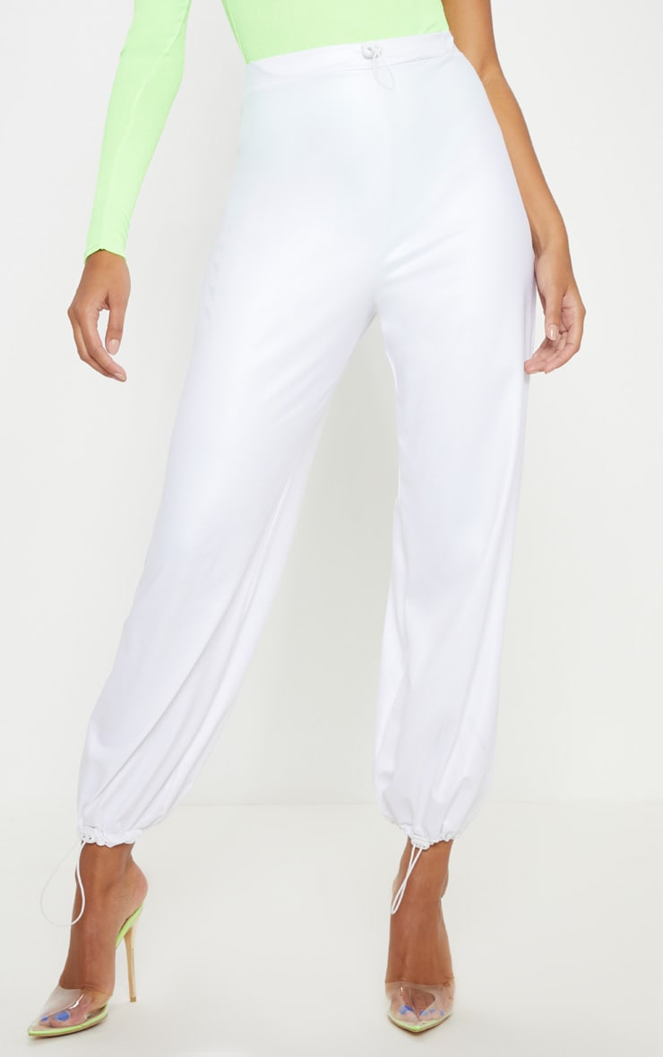 White Wet Look Toggle Detail Jogger 2