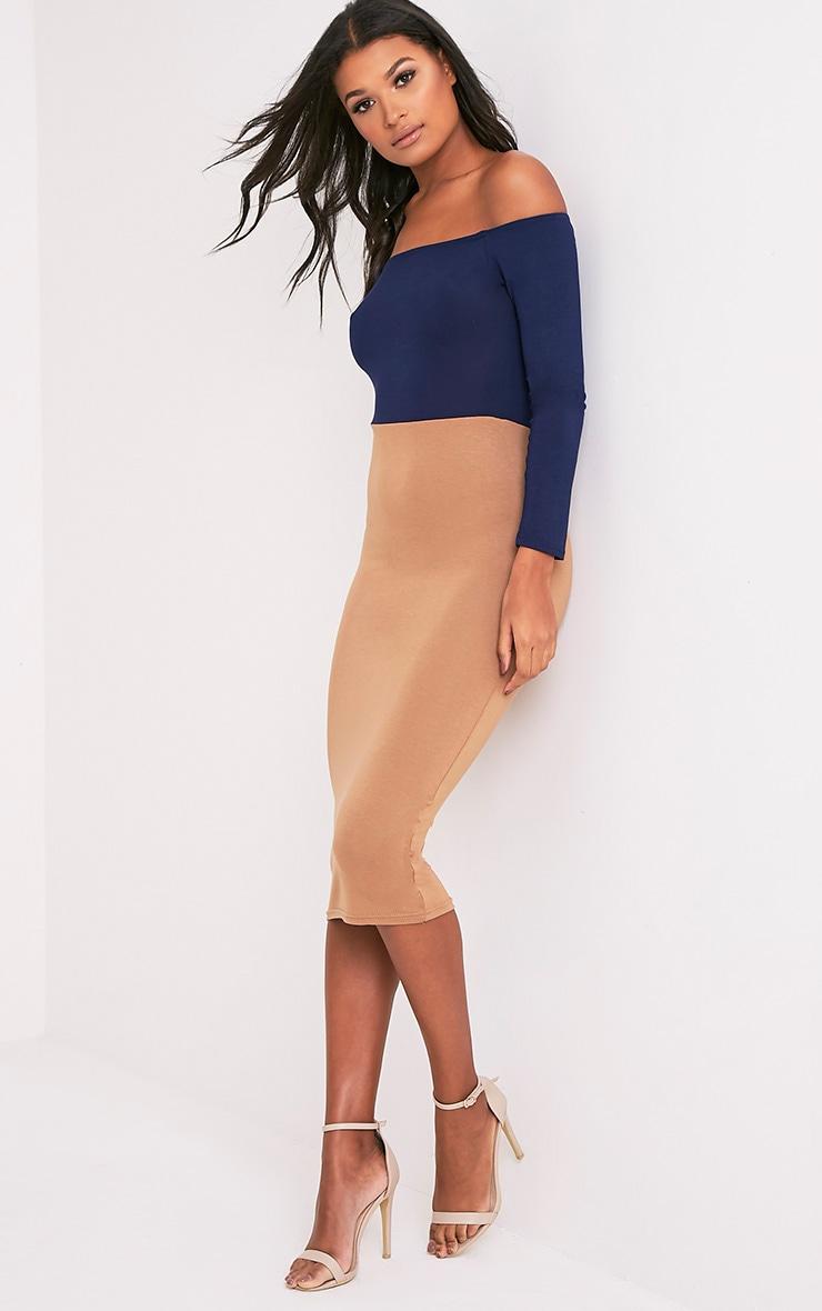 Kelisi Navy Bardot Contrast Jersey Midi Dress 1