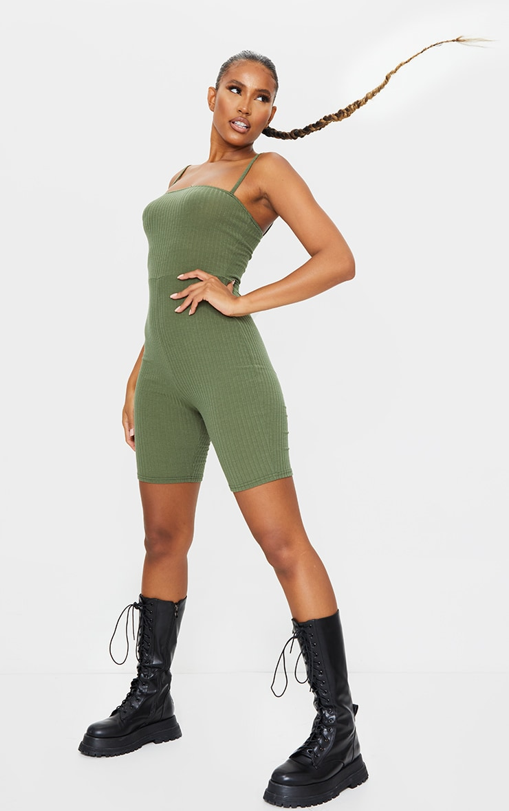Khaki Ribbed Strappy Unitard 3
