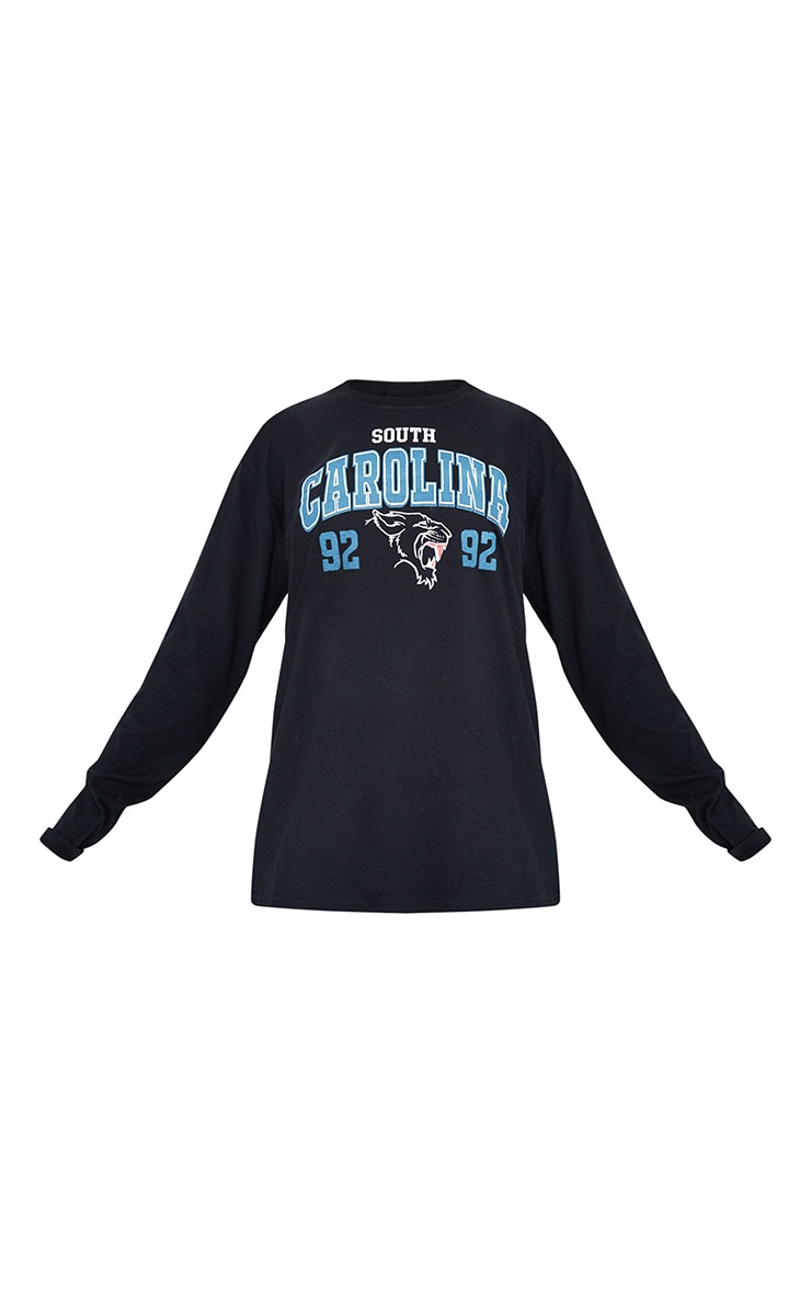 Black South Carolina Sports Printed Long Sleeve T Shirt 5