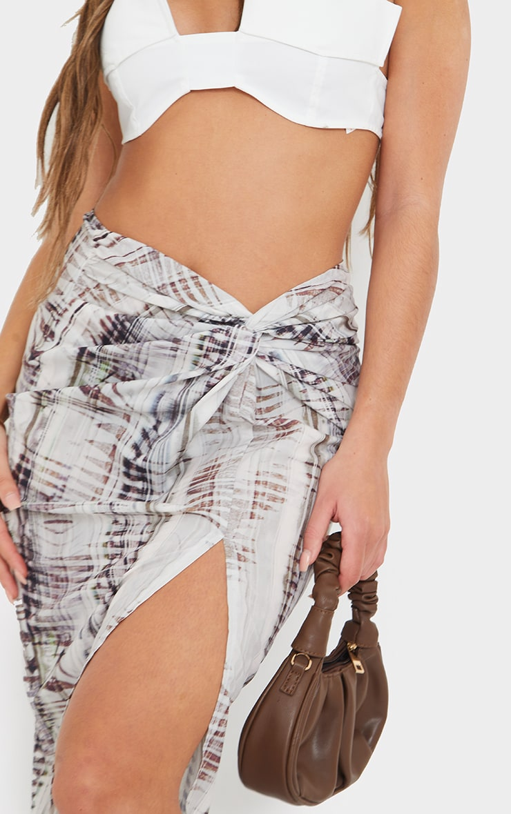 Stone Abstract Ruched Front Midi Skirt 4