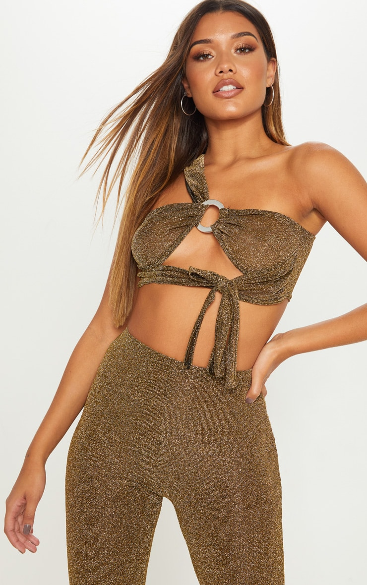 Gold Textured Glitter One Shoulder Ring Detail Crop Top