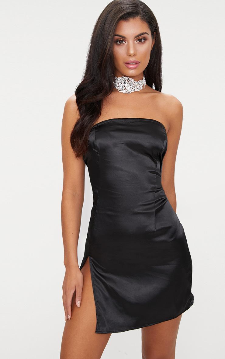 Black vinyl bodycon dress
