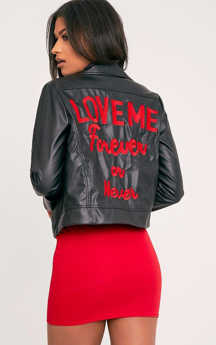 Love Me Forever Slogan PU Biker Jacket 1