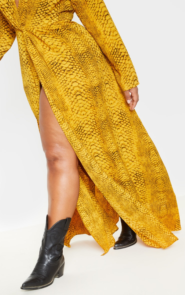 Plus Yellow Snake Twist Detail Maxi Dress 5