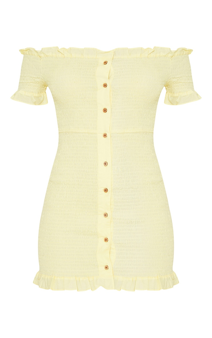 Lemon Shirring Button Detail Bardot Bodycon Dress 3