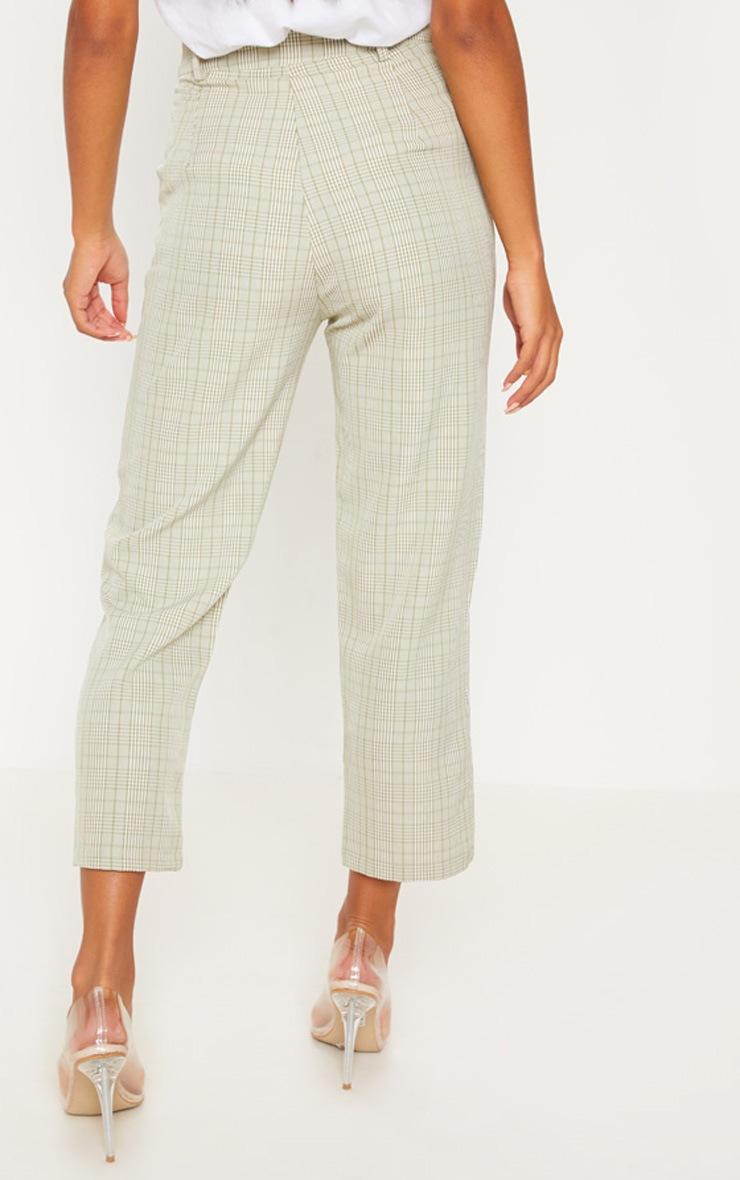 Sage Green Check Straight Leg Trouser 4