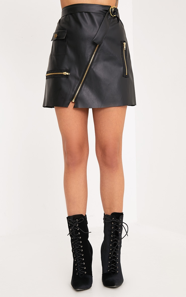 Myra Black Faux Leather Biker Mini Skirt  2