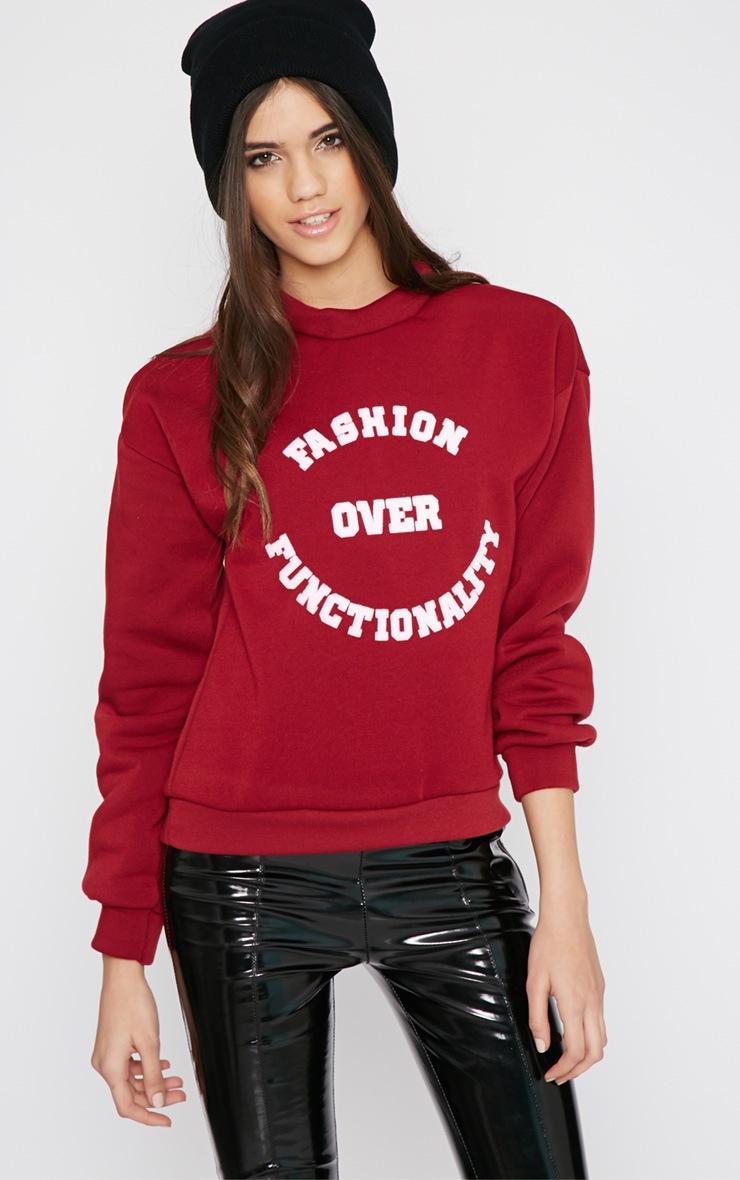 Madison Burgundy Fashion Over Functionality Sweater 1