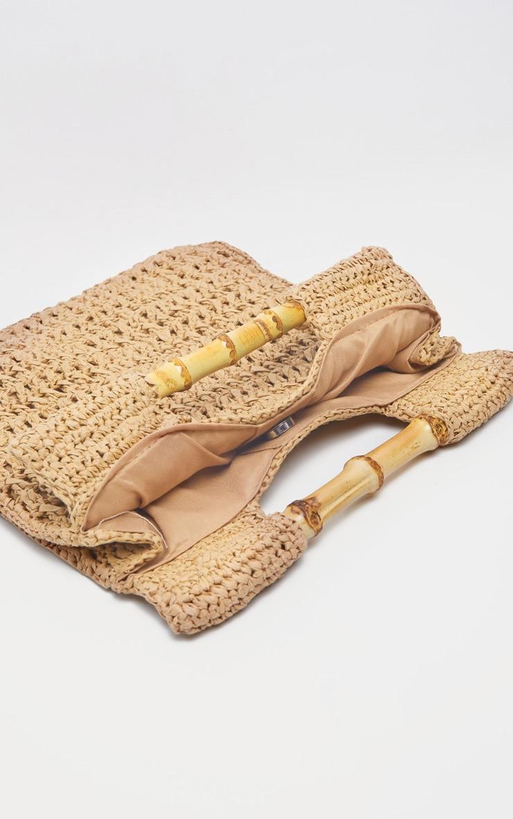 Tan Bamboo Handle Straw Grab Bag 3