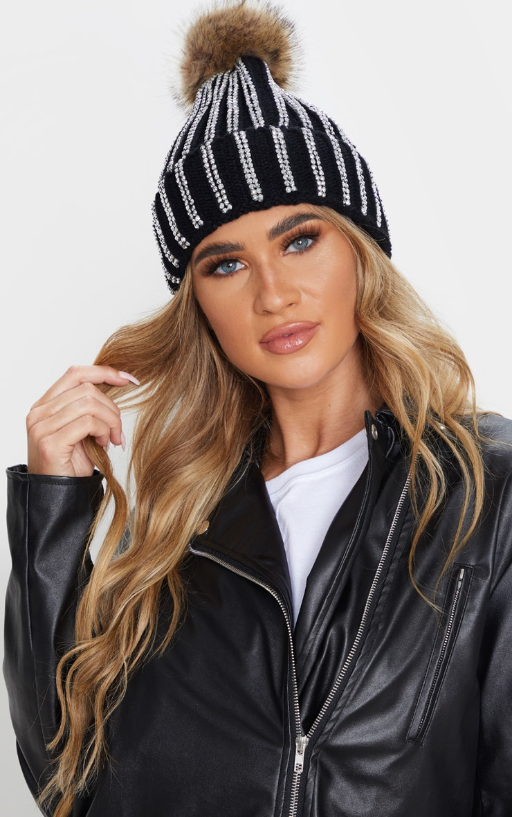Black All Over Diamante Beanie Hat 1