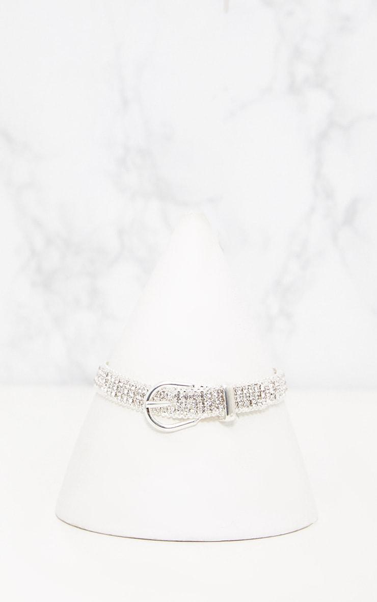 Silver Diamante Buckle Choker 2