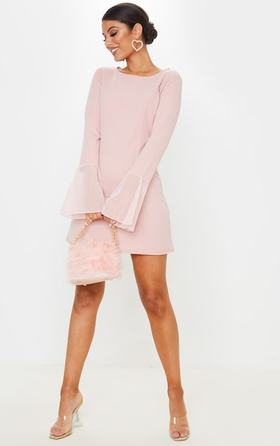 Dusty Rose Frill Sleeve Detail Shift Dress