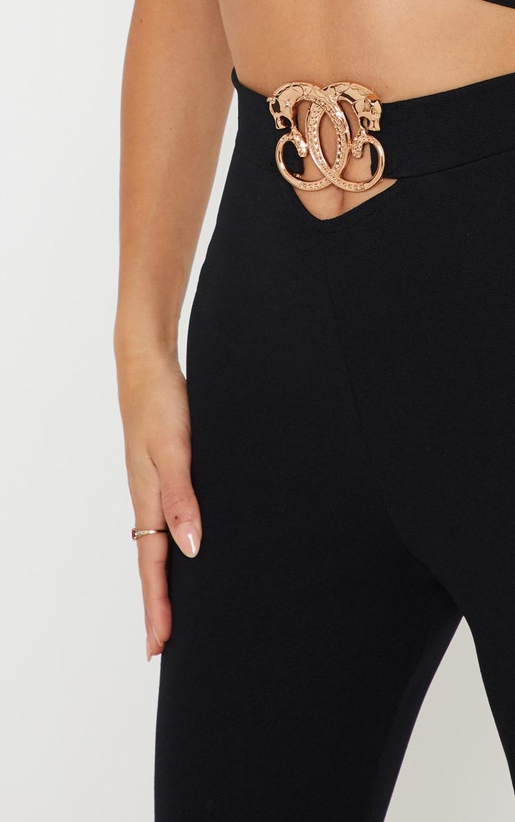 Black Pantsher Clasp Trim Detail Fitted Pants 5