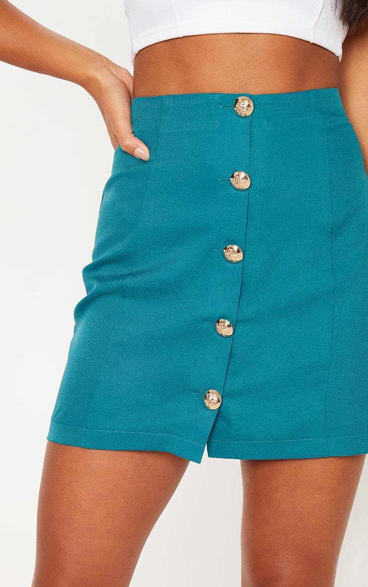 Petite - Mini-jupe vert émeraude à boutons 6