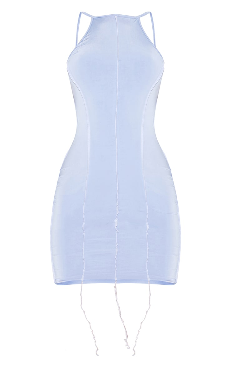 Blue Overlock Stitch Detail Halterneck Tie Back Bodycon Dress 5