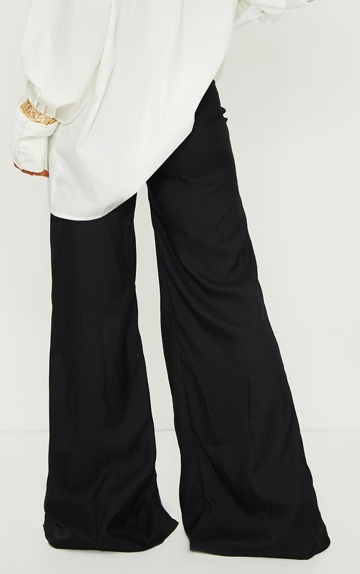 Black Split Leg Woven Wide Leg Pants 3