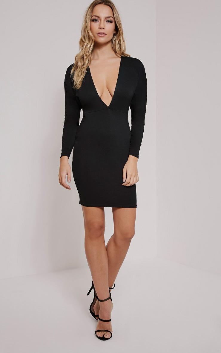 Honora Black Plunge Bodycon Dress 4