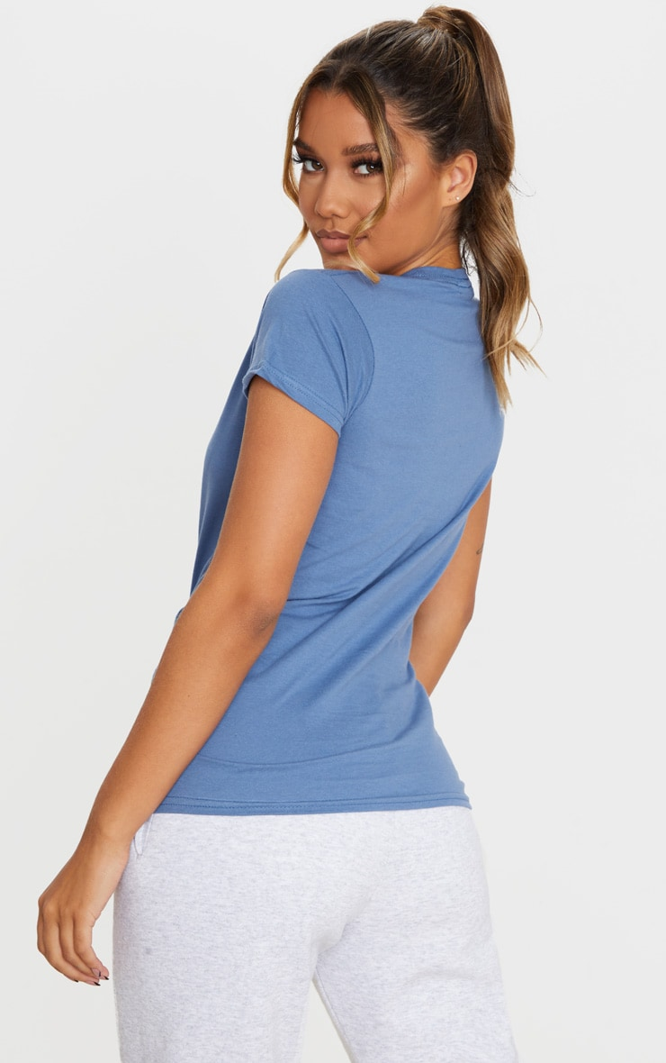 Tee-shirt simple cintré bleu cendré 2