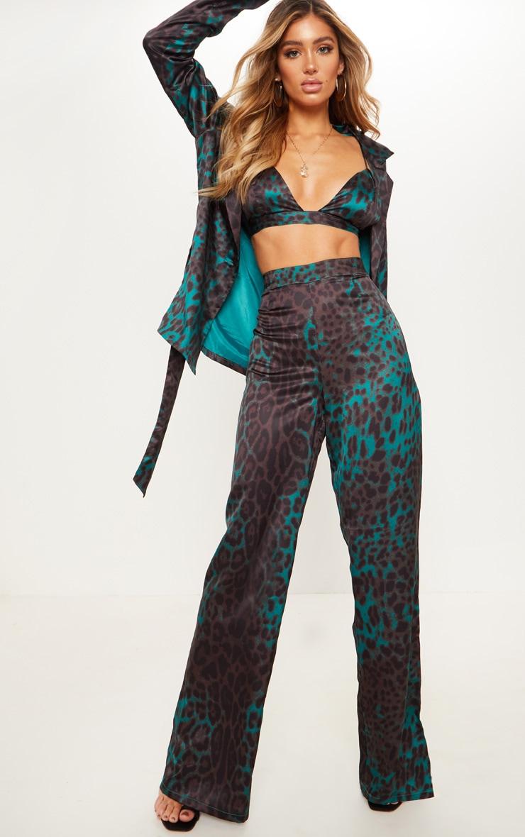 Emerald Green Leopard Printed Satin Split Wide Leg Trouser by Prettylittlething