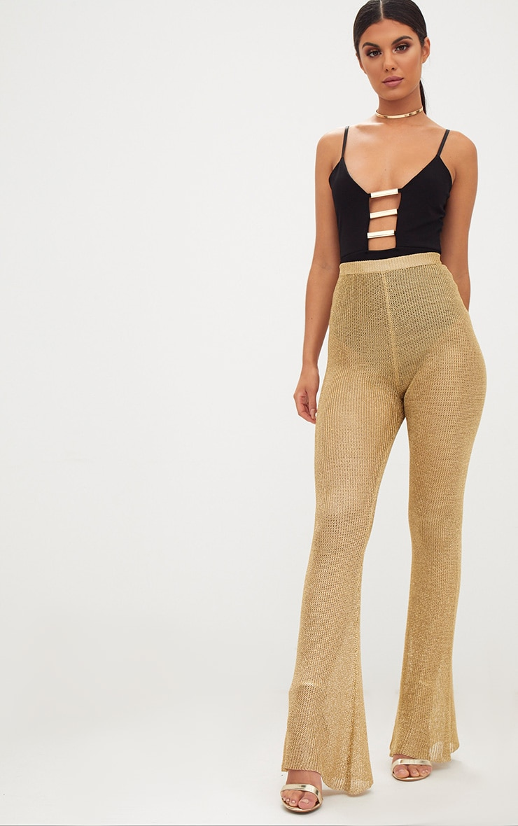Black Gold Bar Detail Plunge Thong Bodysuit 5
