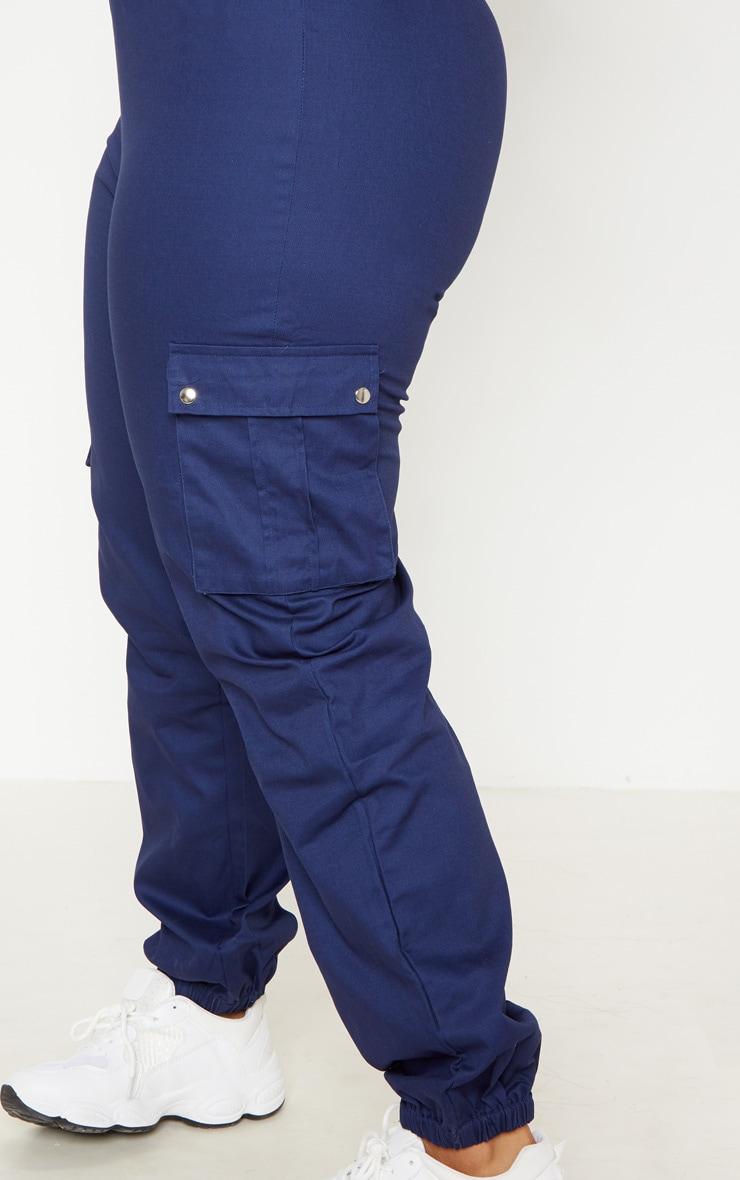 Plus Navy Cargo Trousers