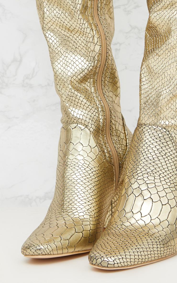 Gold Snake Effect Thigh High Boot 5