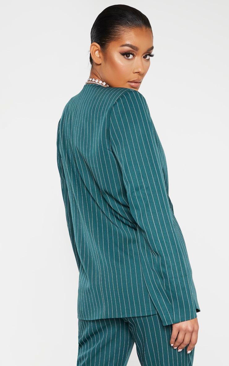 Jasper Green Pinstripe Double Breasted Oversized Blazer 2
