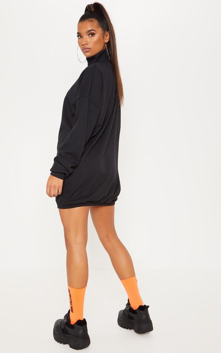 Black Rib Zip Front Elasticated Hem Jumper Dress 2
