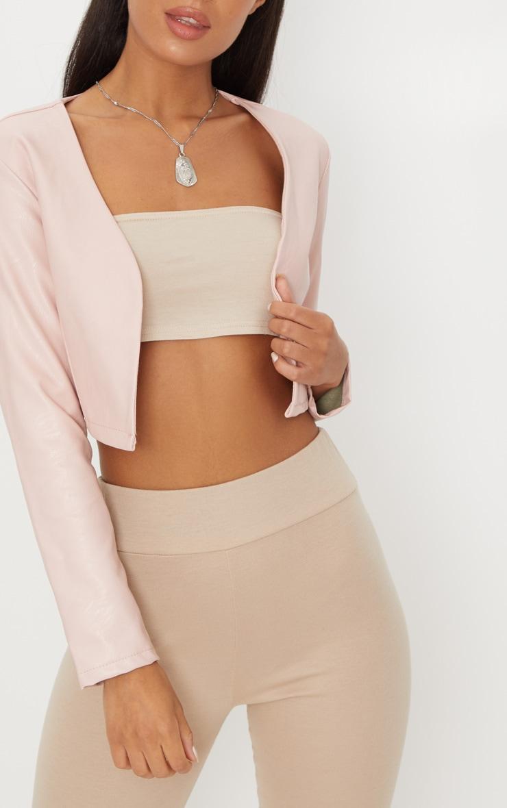 Pale Pink PU Cropped Blazer 5