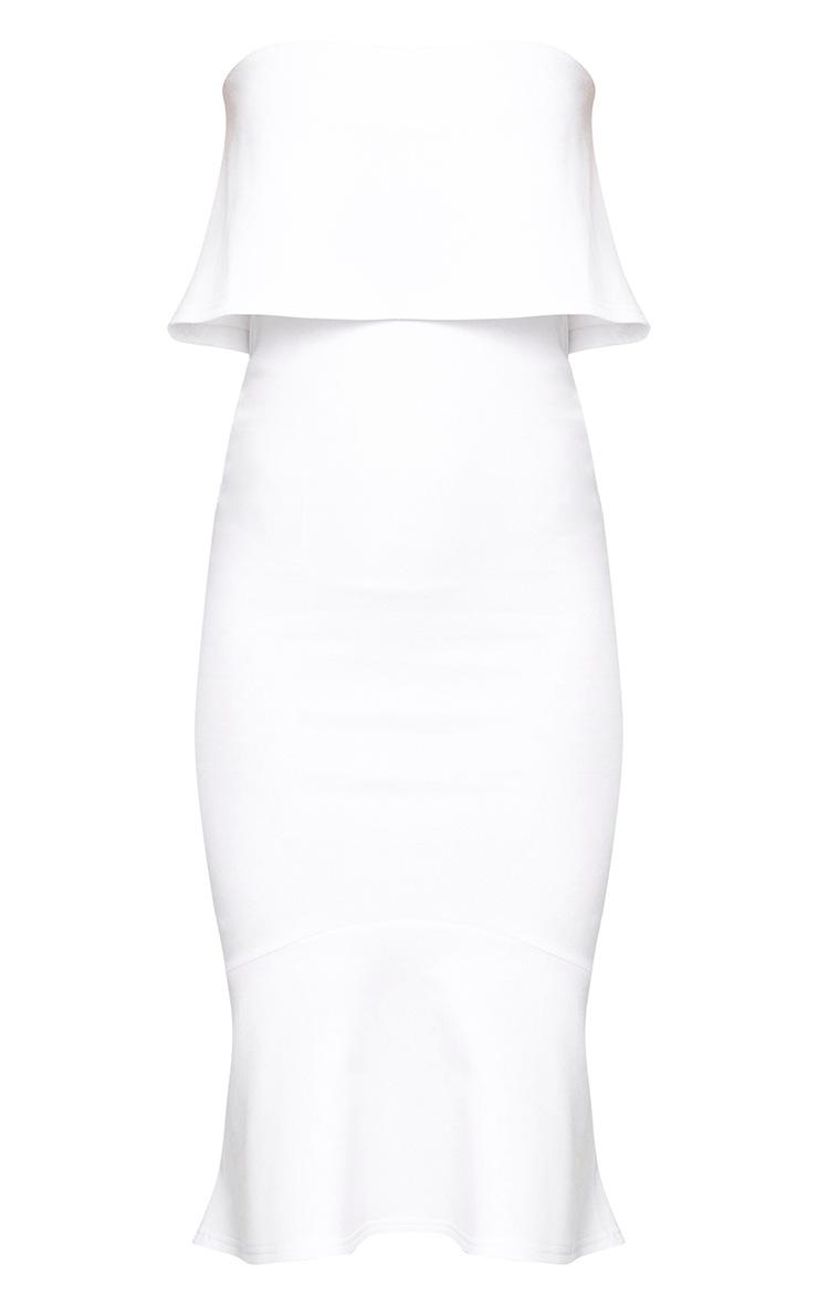 White Bandeau Frill Hem Midi Dress 3