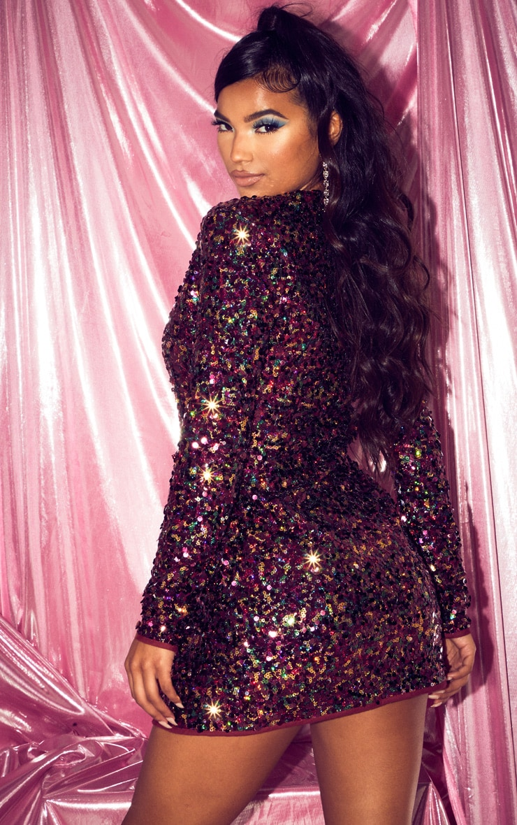 Burgundy Sequin Long Sleeve Blazer Dress 2