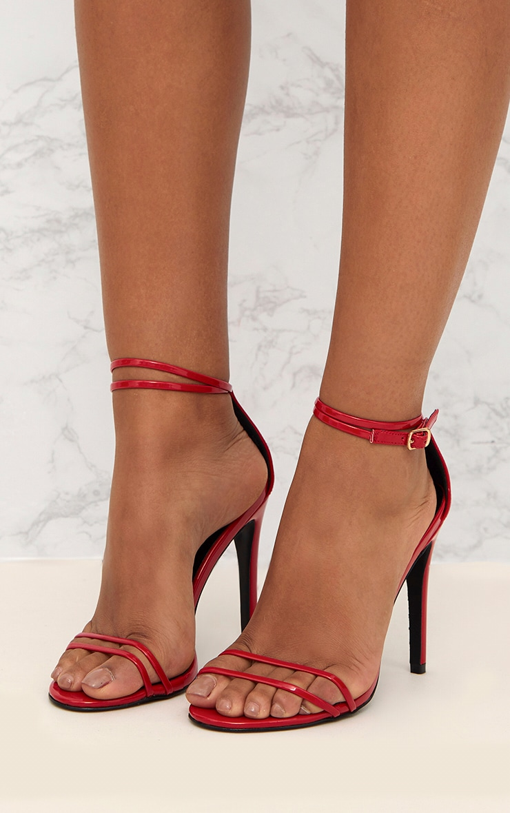 Red Patent Double Strap Heeled Sandals 5