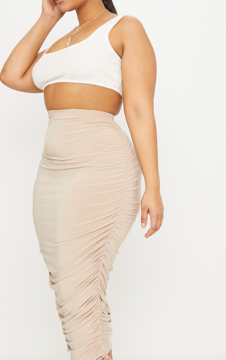 Plus Stone Slinky Ruched Detail Midi Skirt 5