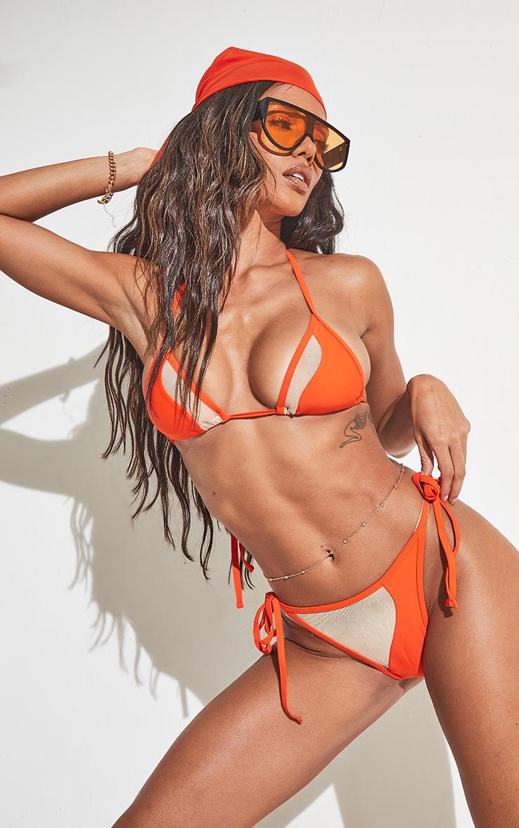 Orange Mesh Panel Bikini Top 1