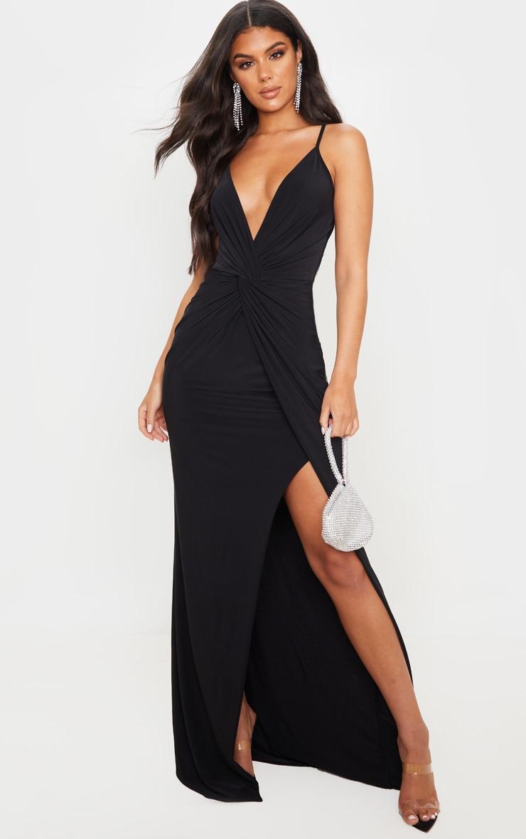 Black Slinky Knot Front Maxi Dress 1